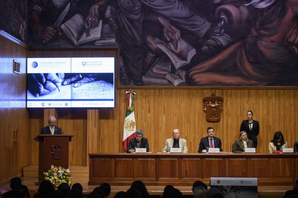 Inauguración de la Cátedra en el Paraninfo de la UDG (2015).